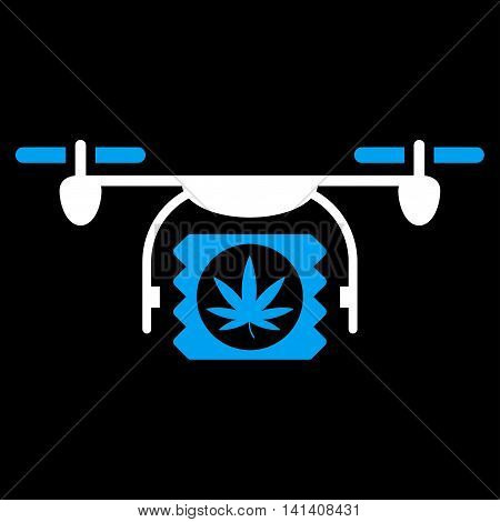 Drugs Drone Shipment vector icon. Style is bicolor flat symbol, blue and white colors, rounded angles, black background.