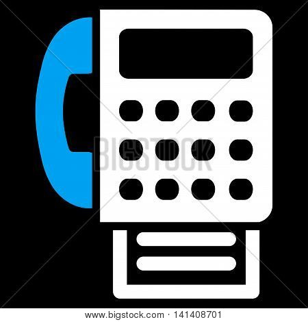 Fax vector icon. Style is bicolor flat symbol, blue and white colors, rounded angles, black background.