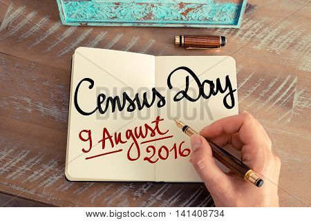Census Day 9 August 2016, Australia Written On Notebook Page