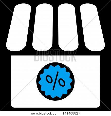 Drugstore Sale vector icon. Style is bicolor flat symbol, blue and white colors, rounded angles, black background.