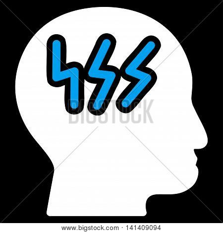 Headache vector icon. Style is bicolor flat symbol, blue and white colors, rounded angles, black background.