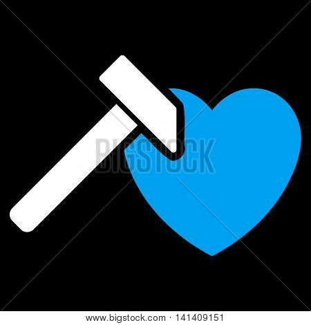 Heart Hummer vector icon. Style is bicolor flat symbol, blue and white colors, rounded angles, black background.