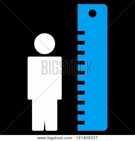Height Meter vector icon. Style is bicolor flat symbol, blue and white colors, rounded angles, black background.