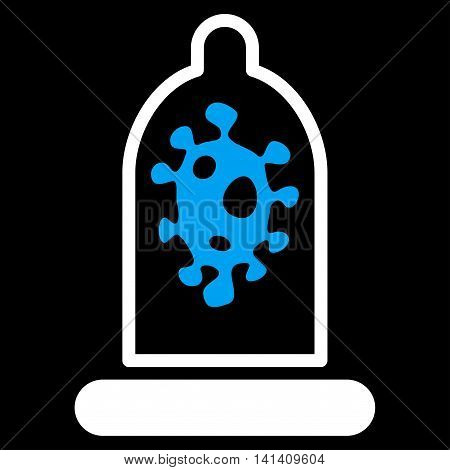 Infection Protection vector icon. Style is bicolor flat symbol, blue and white colors, rounded angles, black background.