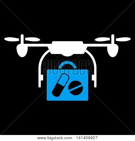 Medical Drone Shipment vector icon. Style is bicolor flat symbol, blue and white colors, rounded angles, black background.