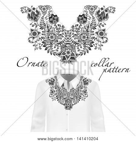 Vector design for collar shirts, shirts, blouses. Colorful ethnic flowers neck. Paisley decorative border. Ornate collar pattern. Gray black white.