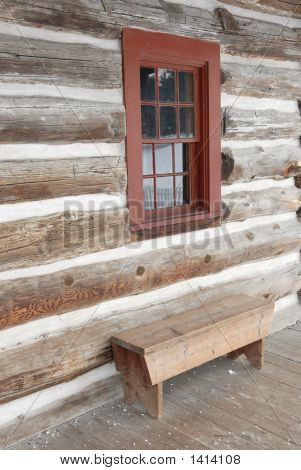 Log House Window And Bench