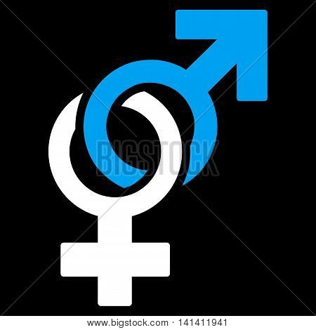 Sexual Symbols vector icon. Style is bicolor flat symbol, blue and white colors, rounded angles, black background.
