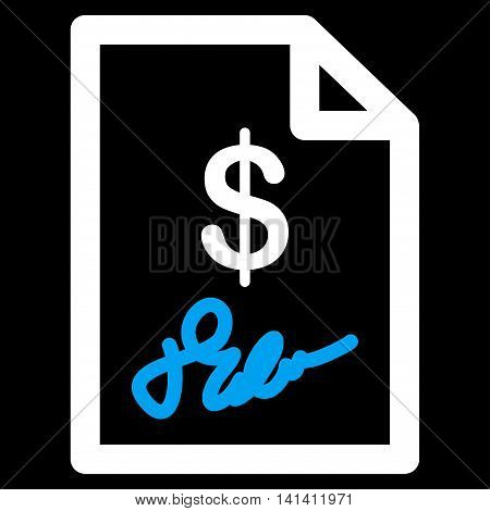 Signed Invoice vector icon. Style is bicolor flat symbol, blue and white colors, rounded angles, black background.