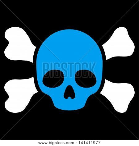 Skull And Bones vector icon. Style is bicolor flat symbol, blue and white colors, rounded angles, black background.