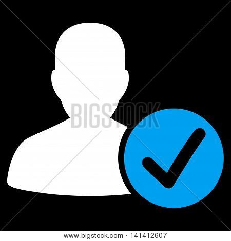 Valid Patient vector icon. Style is bicolor flat symbol, blue and white colors, rounded angles, black background.