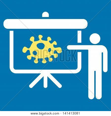 Bacteria Lecture vector icon. Style is bicolor flat symbol, yellow and white colors, rounded angles, blue background.