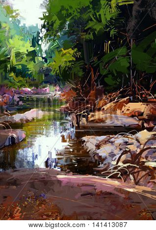 beautiful river amongst large stones in summer forest, digital painting