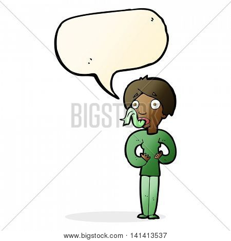 cartoon woman sticking out tongue with speech bubble