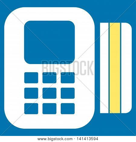 Card Processor vector icon. Style is bicolor flat symbol, yellow and white colors, rounded angles, blue background.