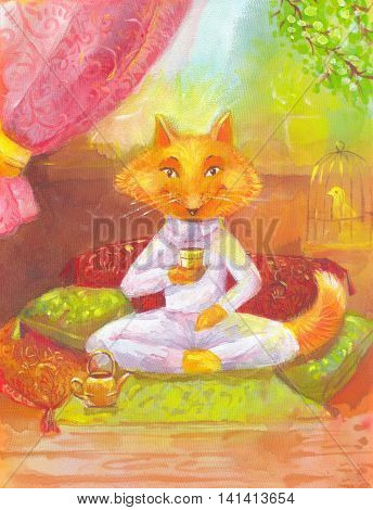 Orange fox drinking tea. The picture for children's room book other products. Acrylic painting on silk. Suitable for prints on clothing t-shirt panels greeting card invitation to dinner or lunch.