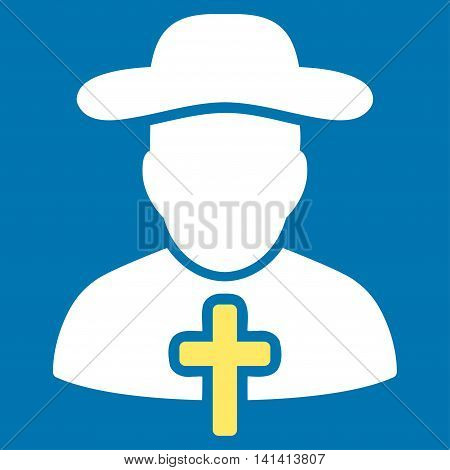 Cleric vector icon. Style is bicolor flat symbol, yellow and white colors, rounded angles, blue background.