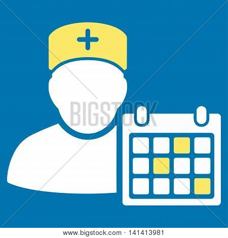 Doctor Appointment vector icon. Style is bicolor flat symbol, yellow and white colors, rounded angles, blue background.