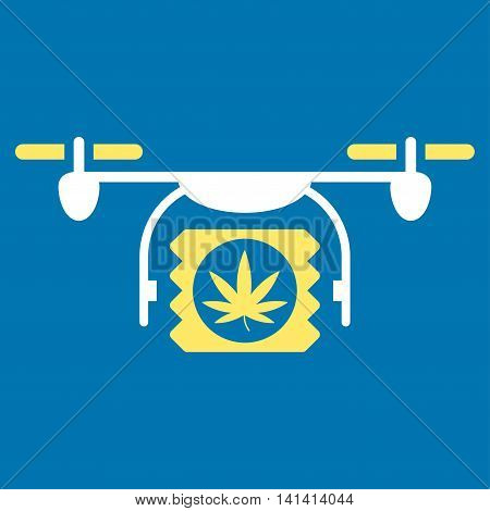 Drugs Drone Shipment vector icon. Style is bicolor flat symbol, yellow and white colors, rounded angles, blue background.