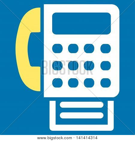 Fax vector icon. Style is bicolor flat symbol, yellow and white colors, rounded angles, blue background.
