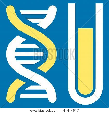 Genetic Analysis vector icon. Style is bicolor flat symbol, yellow and white colors, rounded angles, blue background.