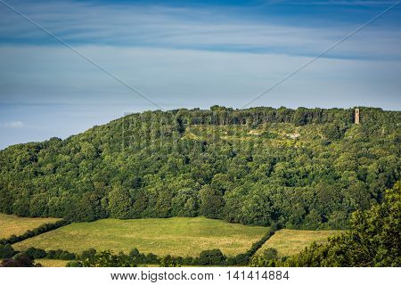 Brown's Folly Nature Reserve and countryside. View across the valley of Wiltshire Wildlife Trust's woodland and grassland with the 'Pepper Pot' tower