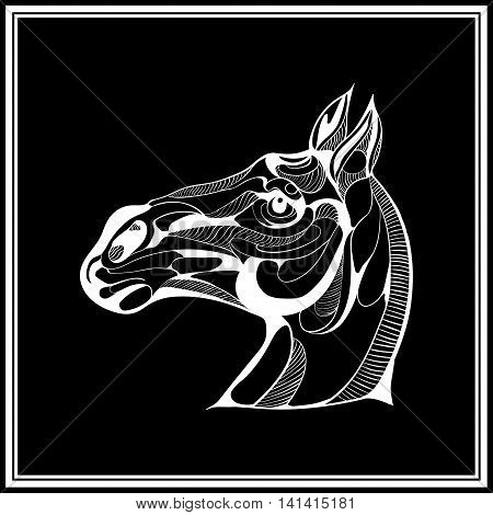 Vector image of a horse on black background.