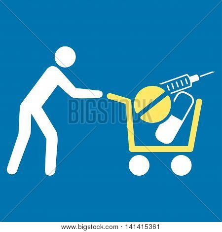 Medical Shopping vector icon. Style is bicolor flat symbol, yellow and white colors, rounded angles, blue background.