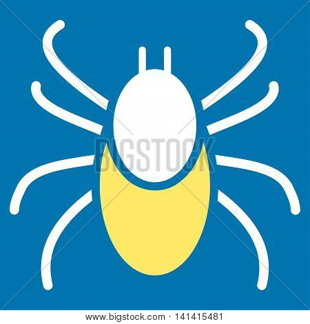 Mite vector icon. Style is bicolor flat symbol, yellow and white colors, rounded angles, blue background.