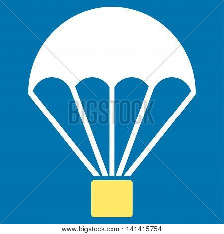 Parachute vector icon. Style is bicolor flat symbol, yellow and white colors, rounded angles, blue background.