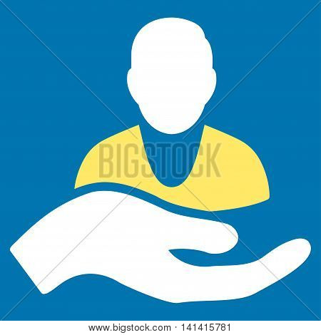 Patient Assistance vector icon. Style is bicolor flat symbol, yellow and white colors, rounded angles, blue background.