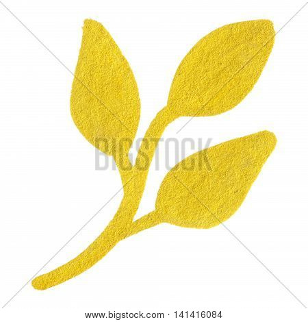 Golden yellow velvet leaf branch symbol isolated