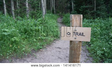 Trail sign in the Rocky Mountains of Utah