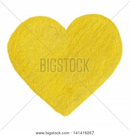 Golden yellow velvet heart love symbol isolated
