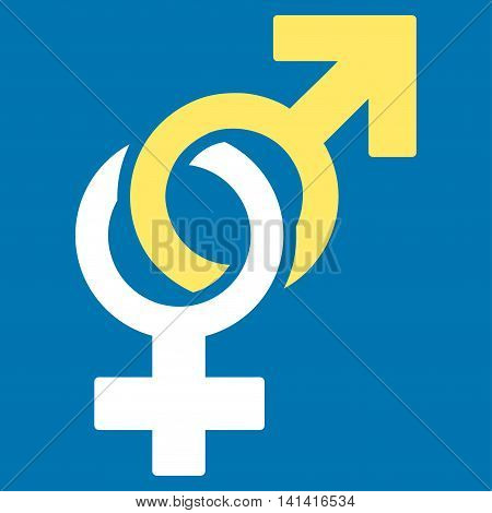 Sexual Symbols vector icon. Style is bicolor flat symbol, yellow and white colors, rounded angles, blue background.