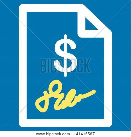 Signed Invoice vector icon. Style is bicolor flat symbol, yellow and white colors, rounded angles, blue background.