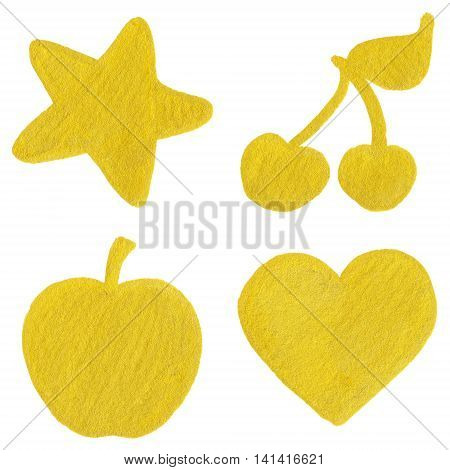 Golden yellow velvet star cherry apple heart symbol set isolated