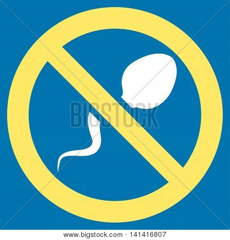Spermicide vector icon. Style is bicolor flat symbol, yellow and white colors, rounded angles, blue background.