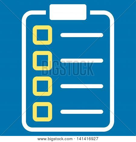 Test Form vector icon. Style is bicolor flat symbol, yellow and white colors, rounded angles, blue background.