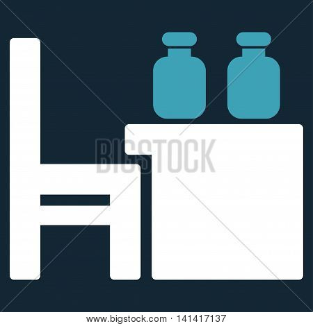 Apothecary Table vector icon. Style is bicolor flat symbol, blue and white colors, rounded angles, dark blue background.