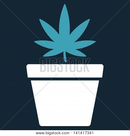 Cannabis Pot vector icon. Style is bicolor flat symbol, blue and white colors, rounded angles, dark blue background.