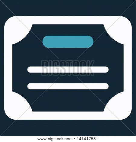 Certificate vector icon. Style is bicolor flat symbol, blue and white colors, rounded angles, dark blue background.