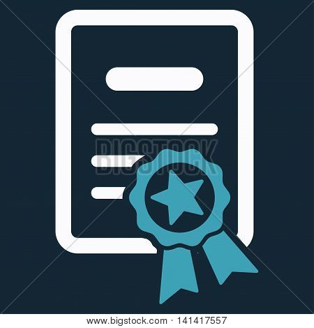 Certified Diploma vector icon. Style is bicolor flat symbol, blue and white colors, rounded angles, dark blue background.