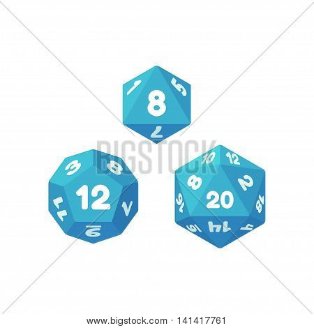 Set of polyhedral dice for fantasy RPG tabletop games. 8 12 and 20 sides. Flat icons for apps and websites.
