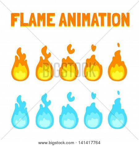 Cartoon flame animation for game. Normal and blue magic fire. Short 5 frame loop.