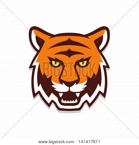 Tiger head illustration sport mascot or team logo. Traditional comic cartoon style.