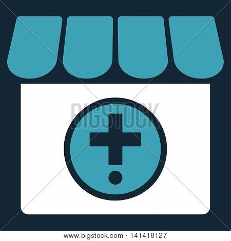 Drugstore vector icon. Style is bicolor flat symbol, blue and white colors, rounded angles, dark blue background.