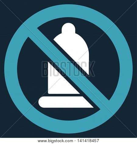 Forbidden Condom vector icon. Style is bicolor flat symbol, blue and white colors, rounded angles, dark blue background.