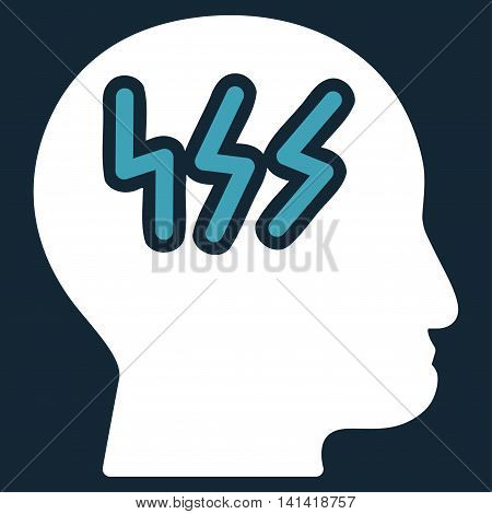 Headache vector icon. Style is bicolor flat symbol, blue and white colors, rounded angles, dark blue background.