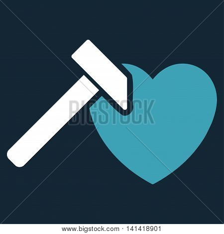 Heart Hummer vector icon. Style is bicolor flat symbol, blue and white colors, rounded angles, dark blue background.